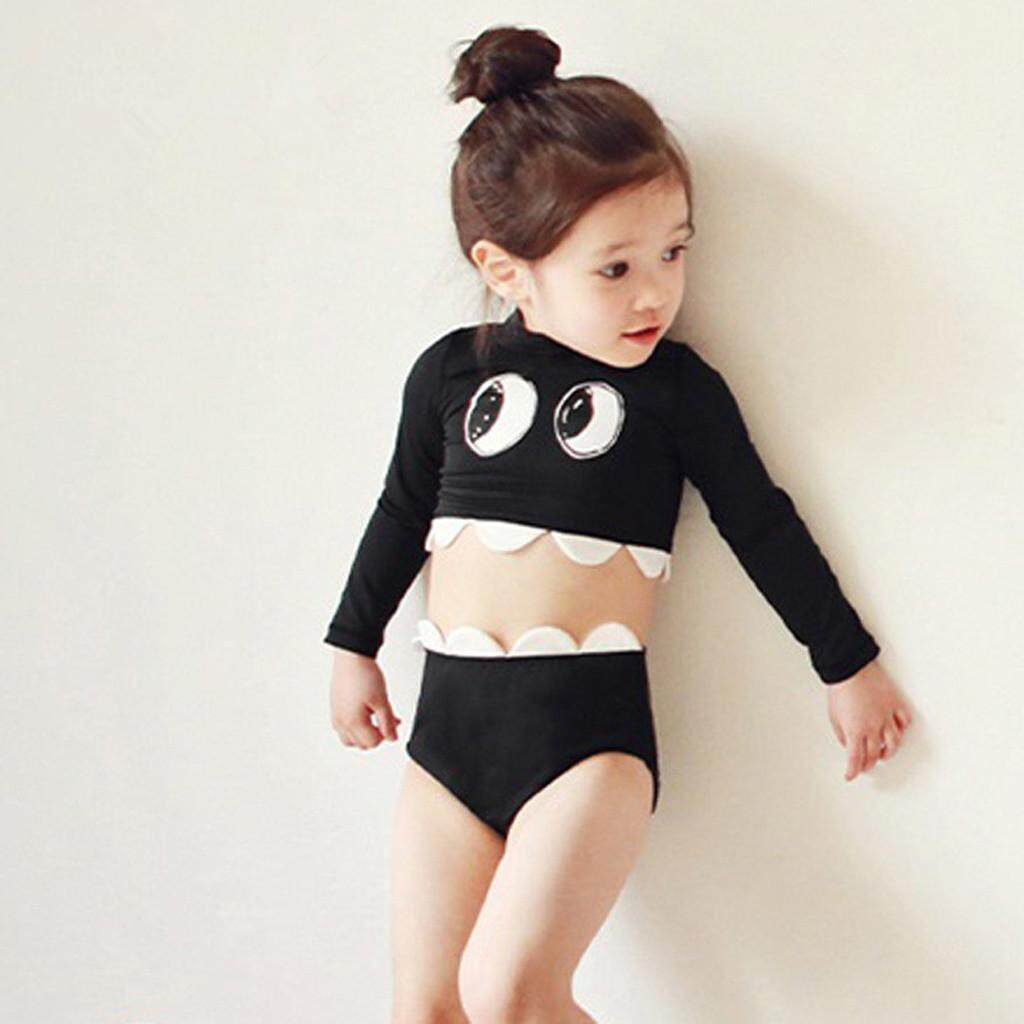 c582bc707681 Topshowvie Toddler Kid Baby Girls Long Sleeve Cartoon Pool Beach Swimsuits  Swimwear Sets