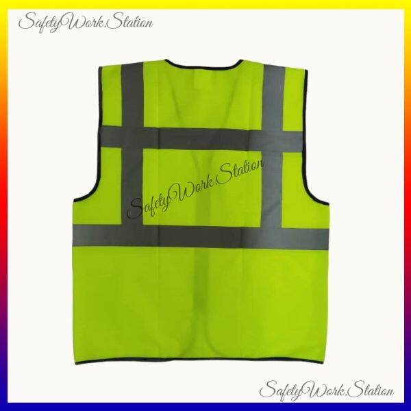 SAFETY VEST LIME GREEN WITH GREY REFLECTOR