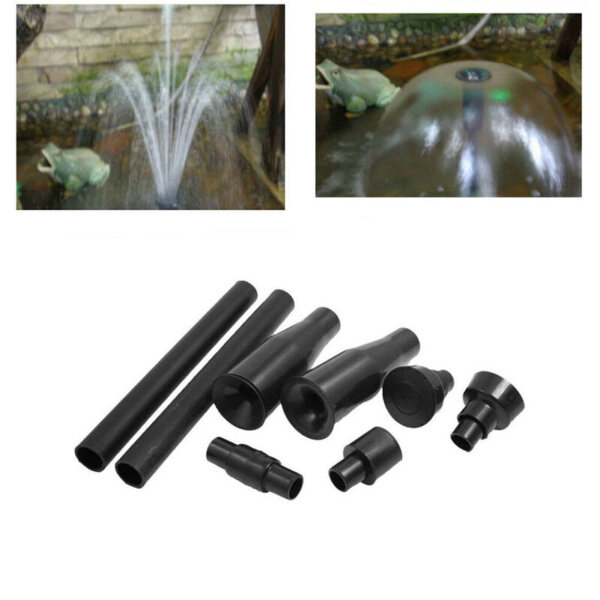 8pcs Set Black Home Multi-functional Garden Fountain Plastic Nozzle Head Plastic Fountain Nozzles gardening Supplies