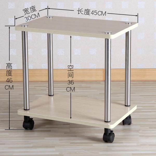 2 Layers Mobile Snack Table, Sofa Side Table for Coffee or Laptop with Stainless Steel Frame and Casters, Modern Piece