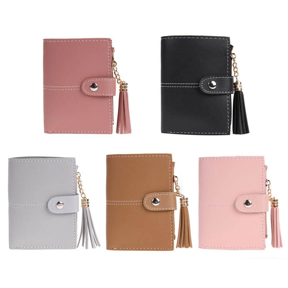 DomybestShop 2019 New Fashion Women PU Leather Button Tassel Short Wallet  Card Coin Holder Clutch Purse 07c70847773a6