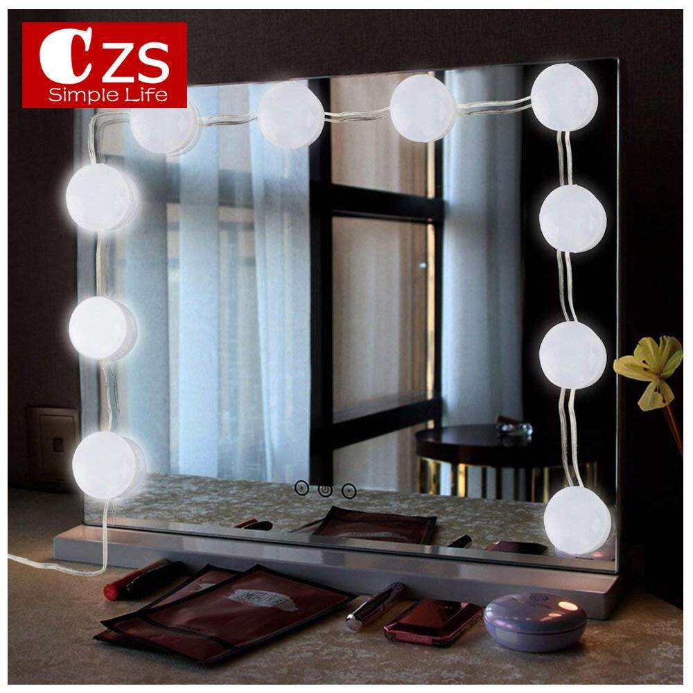 CZS Hollywood Style LED Vanity Mirror Lights Kit with 10 pcs Dimmable Bulbs Brightness Adjustment and Touch Dimmer