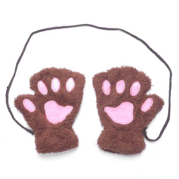 Găng Tay Hở Ngón Nữ Dự Tiệc Dày Móng Vuốt Mèo Dễ Thương Fuzzy Mitten Furry Ấm Hơn Găng Tay Gấu