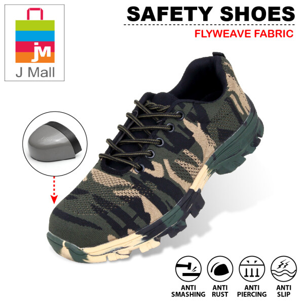 J MALL FASHION SAFETY SHOES Steel Toe Cap Mid Sole Medium Cut (Flyweave Fabric) - 660 (Army Green)
