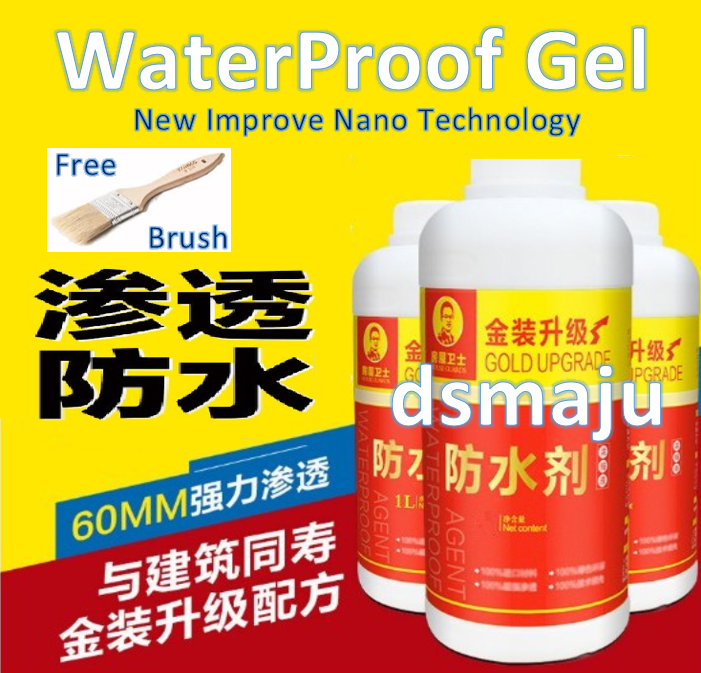 Malaysia Ready Stock Waterproof Agent House Guard Waterproof Gel 1 Litre Bathroom Roof Top Water Repellent Concentrated