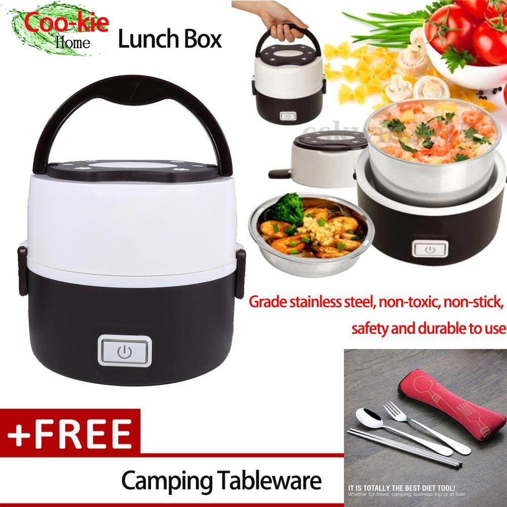 cc601ed060a  Buy 1 Get 1 Free Gift Stainless Steel 220V 2 Layers Electric Heated Lunch