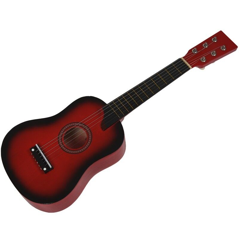 Ready Stock IRIN Mini 25 Inch Basswood Acoustic 12 Frets 6 Strings Guitar Red Malaysia