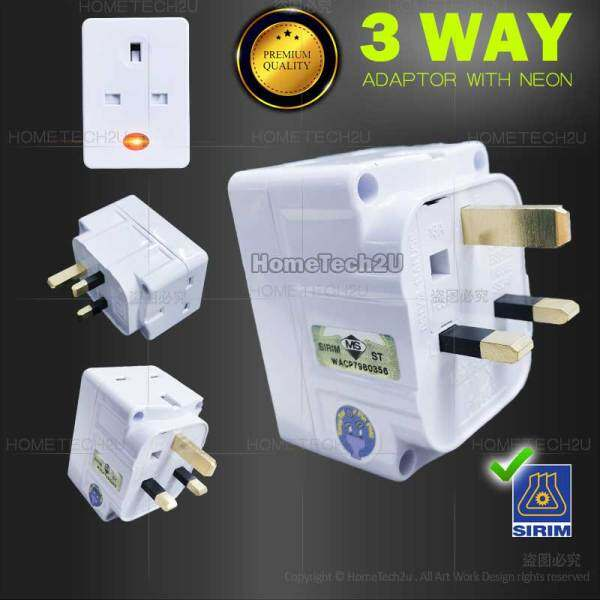 PREMIUM 13A 3 way Adapter Adaptor Light indicator with Safety Shutter Extension Plug kepala tiga (Sirim Approved)