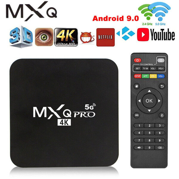 MXQ Pro 4K 2.4G/5GHZ Wifi Android 9.0 Quad Core Smart TV Box Phương Tiện Truyền Thông Máy Nghe Nhạc Rebec 1G + 8G