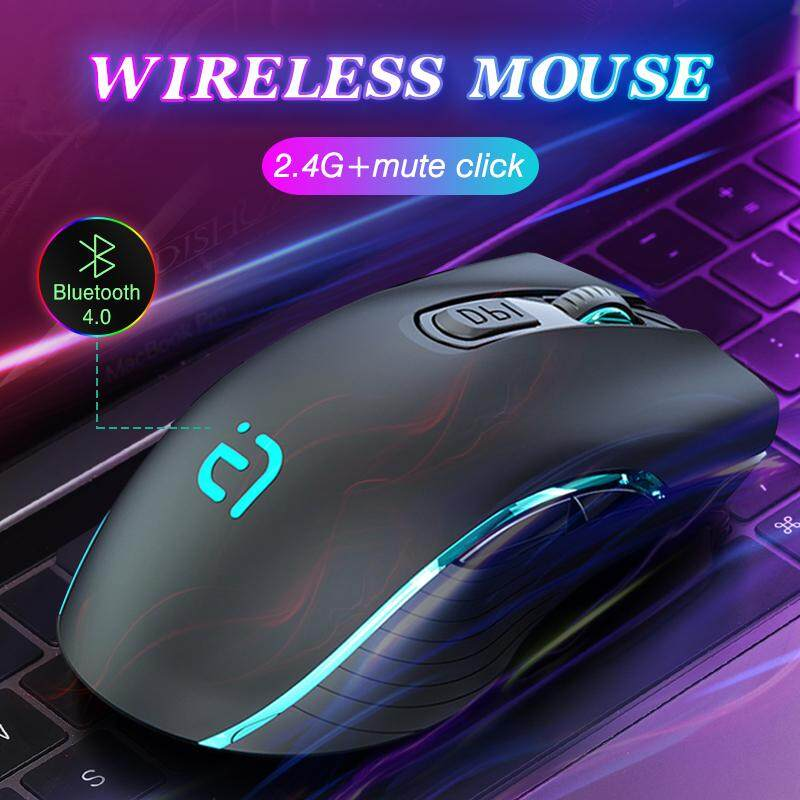 4.0+ 2.4Ghz Wireless Mouse Gaming Silent Plus Computer Mice 2 In 1 2400DPI Dual Model Bluetooth Wireless Mouse Ergonomic Portable Optical Game Mouse for PC/Laptop Malaysia