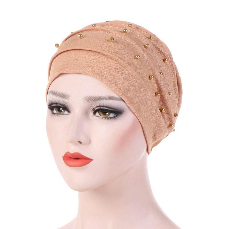 d906c6bd834 Fashion Women Beads Beabie Cap Hijab Hat Muslim Ruffle Cancer Chemo Cap  Turban Hat Ladies India