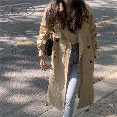 Sezo Áo khoác gió nữ dáng dài hai bầu ngực rộng kiểu hàn quốc phong cách hàn quốc