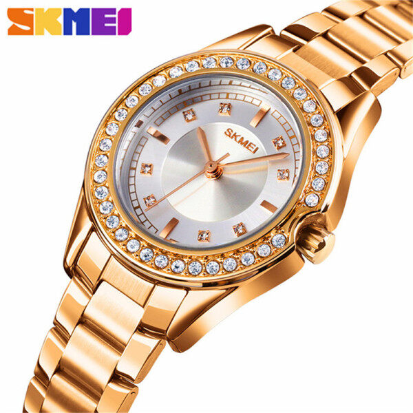 SKMEI Brand Top  Luxury Casual Silver Ladies Womens Watches 30M Waterproof Stainless Steel Womens Gift For Female Ladies Watches Malaysia