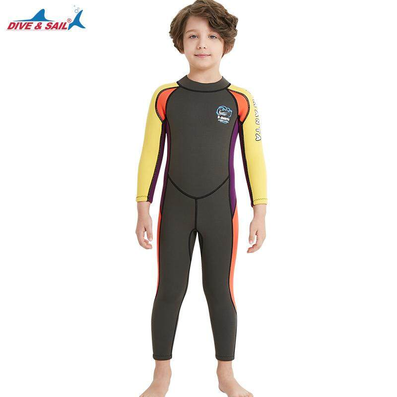 DIVE SAIL New Style Boys 2.5mm Neoprene Wetsuit Long Sleeved One Piece Kids  Childs Wet suit 4874d2d39