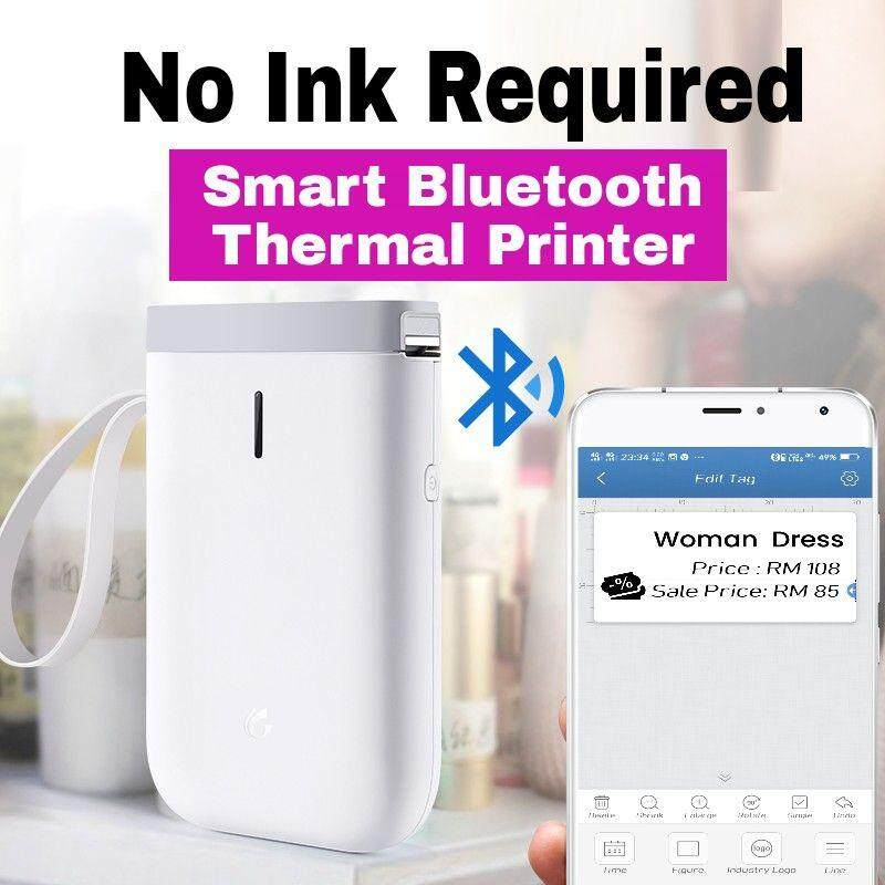 Ink free Portable Thermal Label Printer, Sticker Maker, Price Tag Labeler  with Bluetooth, Smartphone Label Maker, Free Android and ios App, For