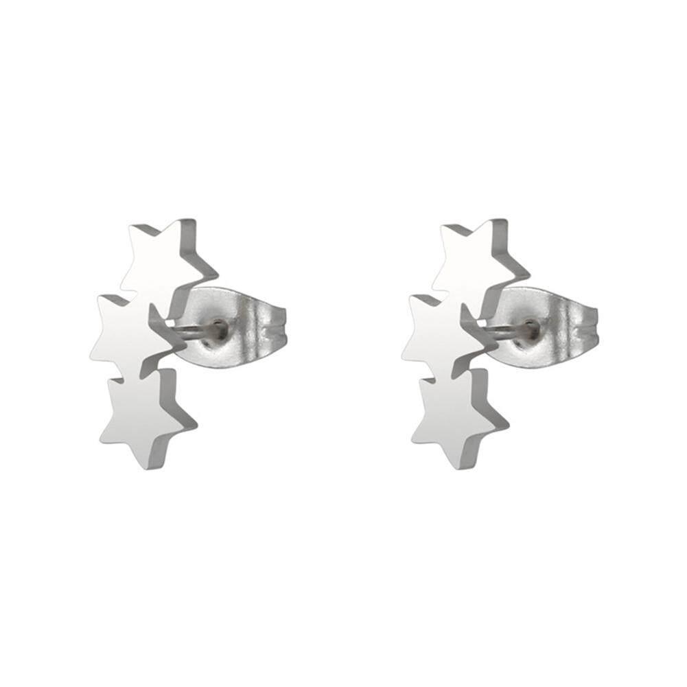 9c64314f66f54d Gravitational wave Chic Triple Star Ear Studs Stainless Steel Earrings  Women Piercing Jewelry Charm