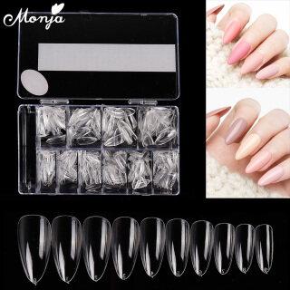 Bộ 500 cái móng tay giả làm bằng nhựa acrylic trong suốt dùng để nối móng tay khi sơn gel UV có thể che phủ hết móng tay (vui lòng chọn mẫu móng phù hợp) - INTL thumbnail