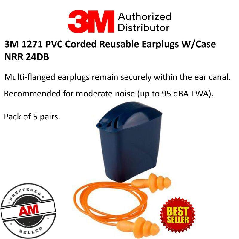 3M 1271 PVC Corded Reusable Earplugs W/Case NRR 24DB (Pack of 5 pairs)