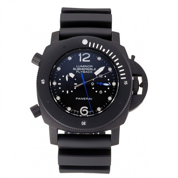 Pąnerai Luminor Flyback submersible GMT black dial ionized black Case Black Rubber strap Malaysia