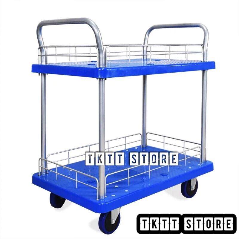 TKTT Heavy Duty 2 Tiers Wire Fenced Fibre Platform Trolley / Food Court Trolley / Serving Cart / Hand Trucks / Surround Tool Cart / Heavy Duty Multifunctional Trolley / Utility Trolley / Troli Plastic 2 Tingkat Serbaguna