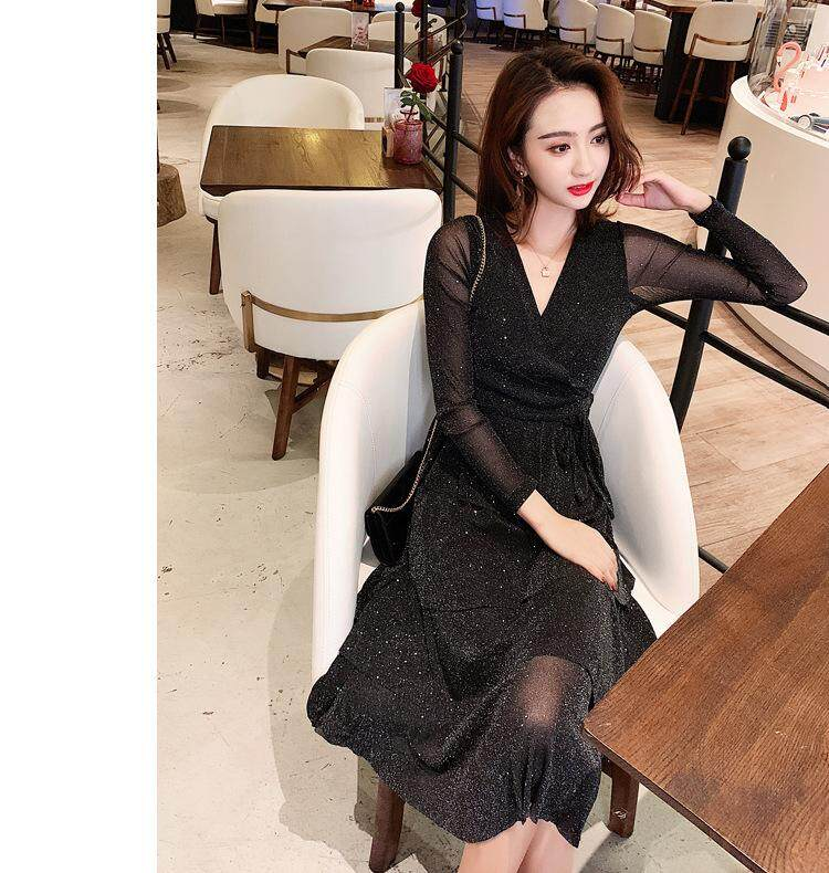7a74acd6071 2019 Fashion Long Sleeve Twinkle Women Dress V-neck Midi Dress