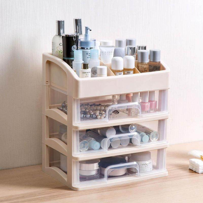 Homenhome 3 Layers Makeup Storage Rack with Drawer Desktop Cosmetic Organizer