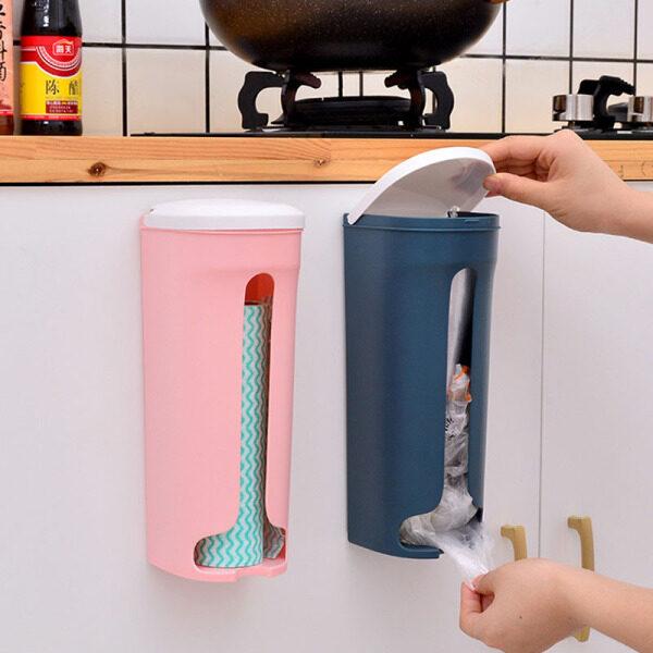 Hộp Đựng Túi Rác Có Nắp, Giá Nhựa Treo Tường Phòng Tắm Nhà Bếp Gia Đình