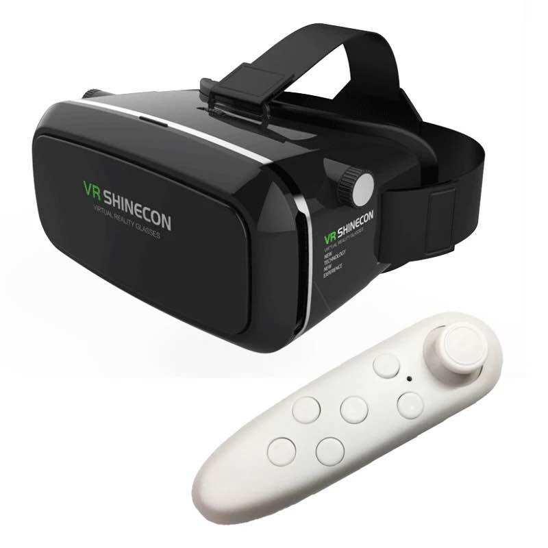 Shinecon VR Thực Tế Ảo 3D Tai Nghe Mắt Kính Google Cardboard 3D VR Box Mắt Kính 4.7-6 Inch Điện Thoại Thông Minh + Tặng 1 Chiếc Tay Cầm Chơi Game
