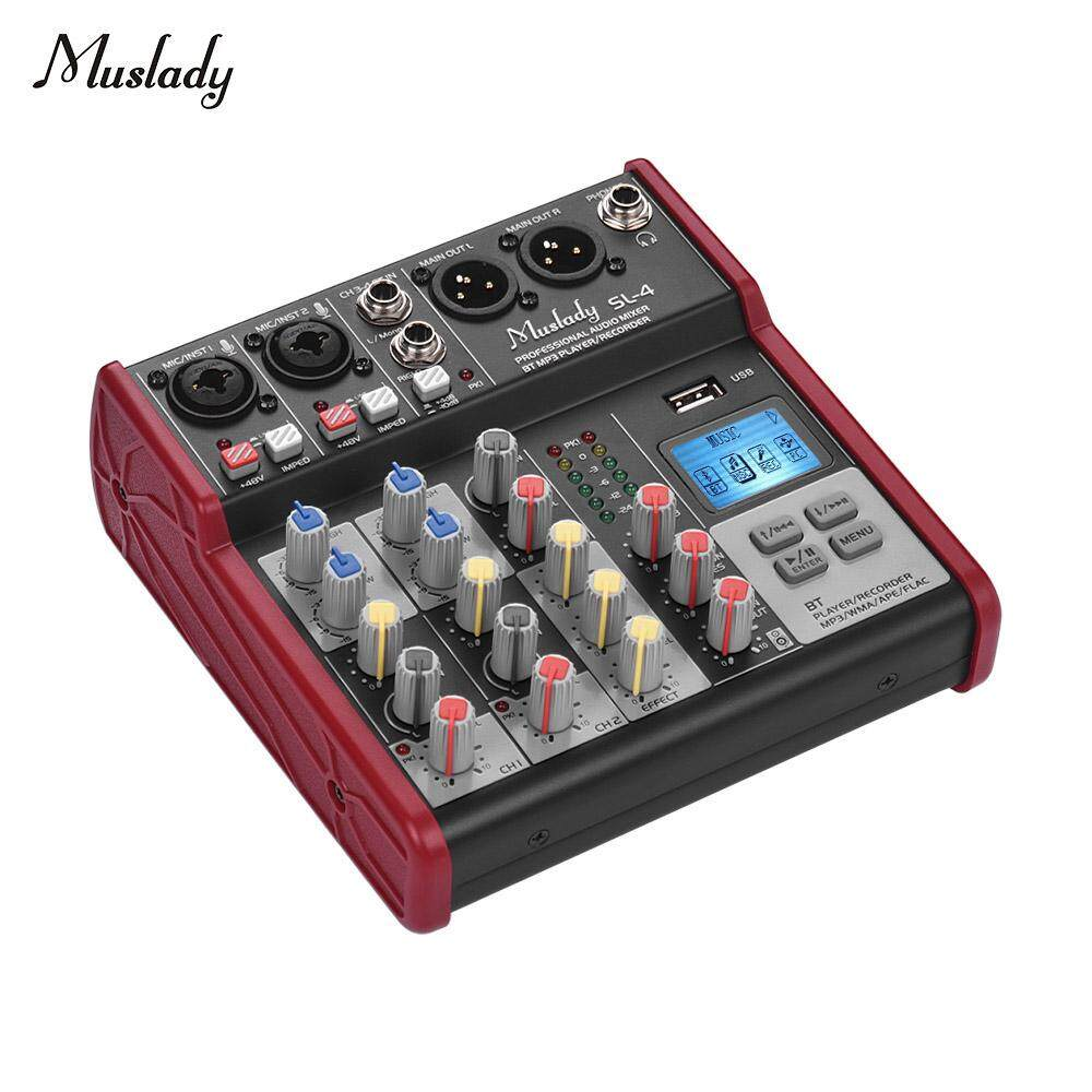 Muslady SL-4 Compact Size 4-Channel Mixing Console Mixer 2-band EQ Built-in 48V Phantom Power Supports BT Connection USB MP3 Player for Recording DJ Network Live Broadcast   Karaoke