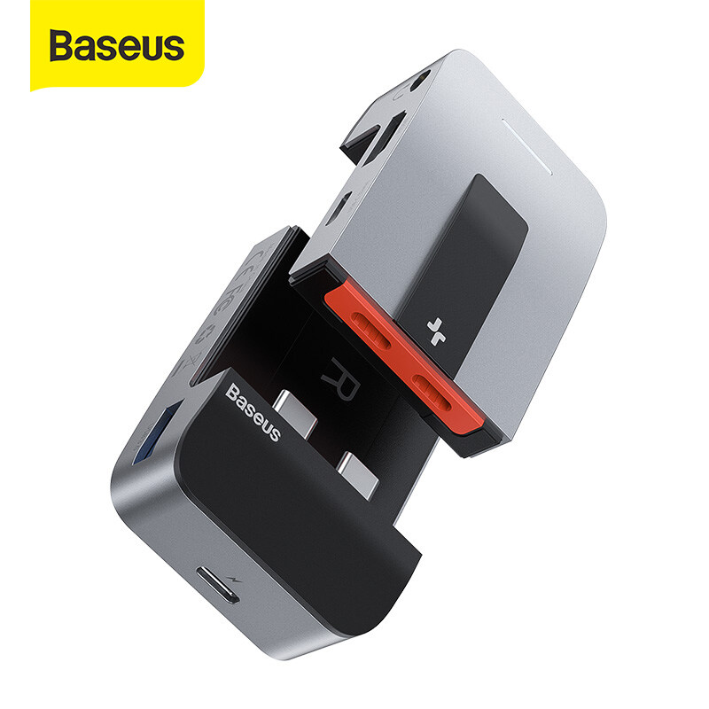 Baseus USB C HUB to HDMI USB 3.0 USB HUB for MacBook Pro Air Thunderbolt 3 USB Splitter Combined RJ45 Holder 9 in 1 Type C HUB