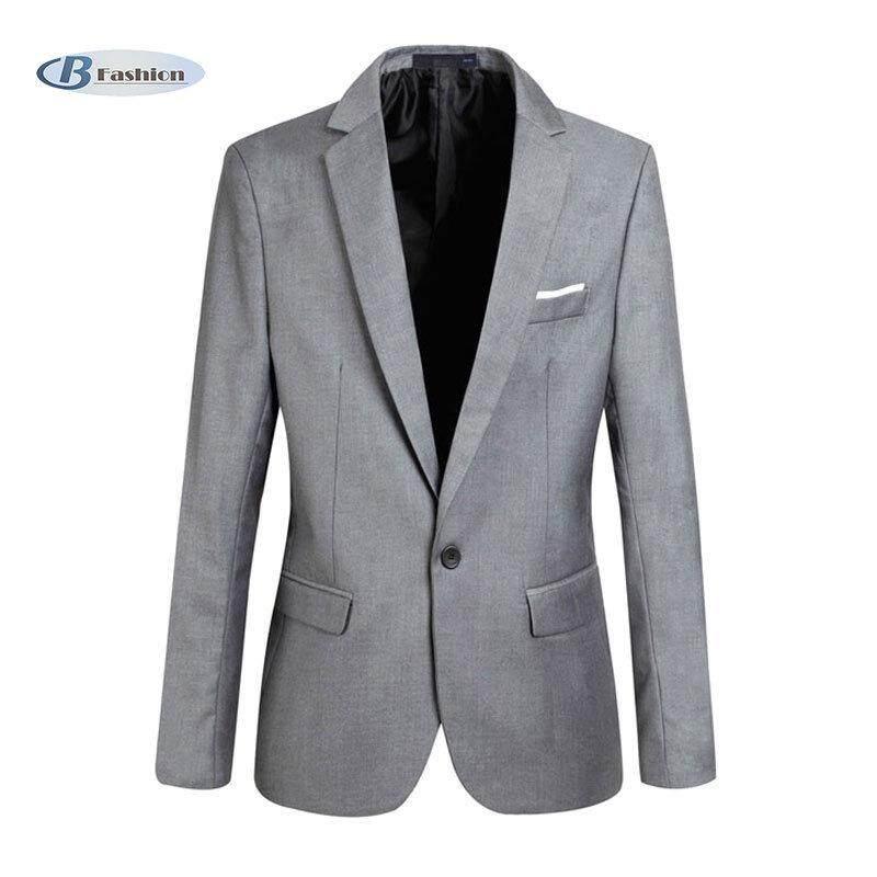 d1474dd0 B-F Fashion Spring Autumn Men Blazer Long Sleeve Solid Color Slim Man Casual  Thin Suit Jacket