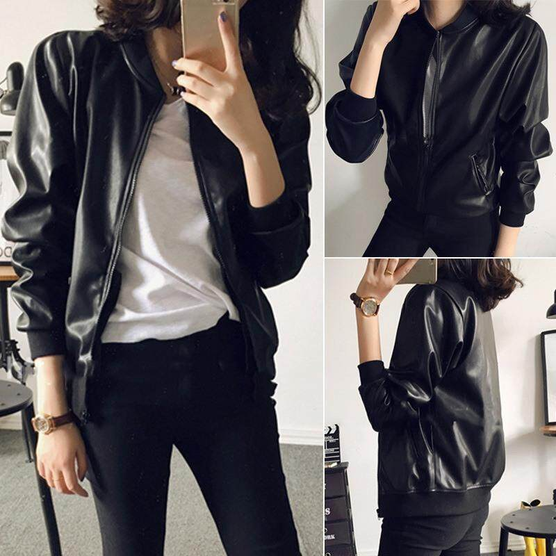 879bd2cca Women's PU Leather Zipper Slim Moto Biker Jacket