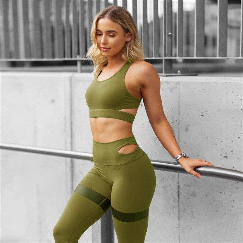 Activewear Women Sportswear Yoga Bra Pants Fitness Workout Gym Running Patchwork Clothing Crease-Resistance