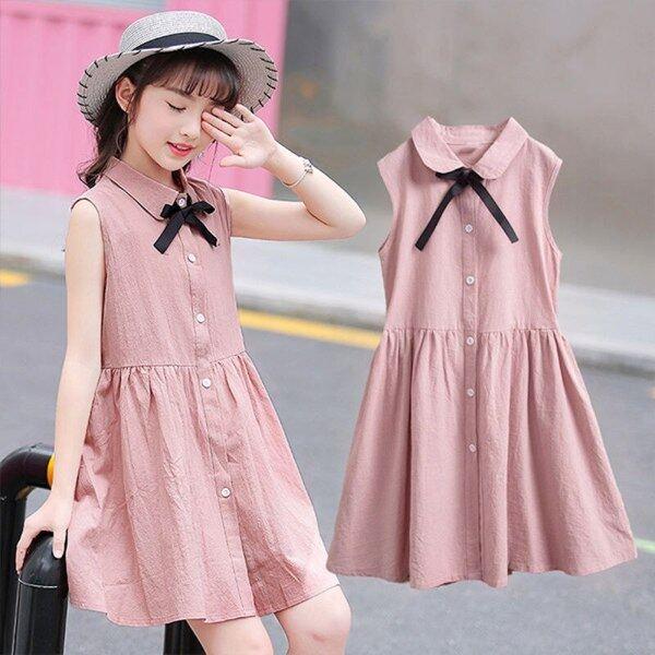 Giá bán Váy 3-12 Tuổi Cho Bé Gái Đầm Không Tay Phong Cách Preppy Thời Trang Mùa Hè Cho Trẻ Em