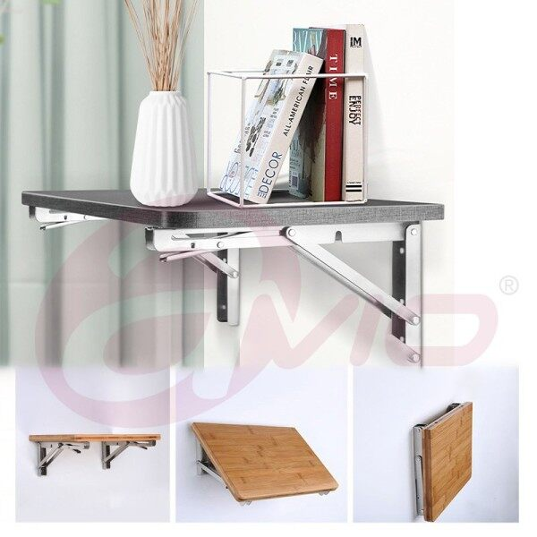 Folding Self Brackets 12,18 Inch Stainless Steel Heavy Duty Collapsible Bracket Locking Shelf Hinge Wall Mounted Work Bench Table Bracket DIY Support Hardware 2Pcs, Max Load 150KG