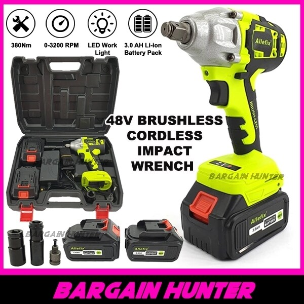 [ READY STOCK ] Allefix 1/2 Heavy Duty 380Nm Brushless Cordless Impact Wrench 48v Li-on 3.0ah With 2 Batteries