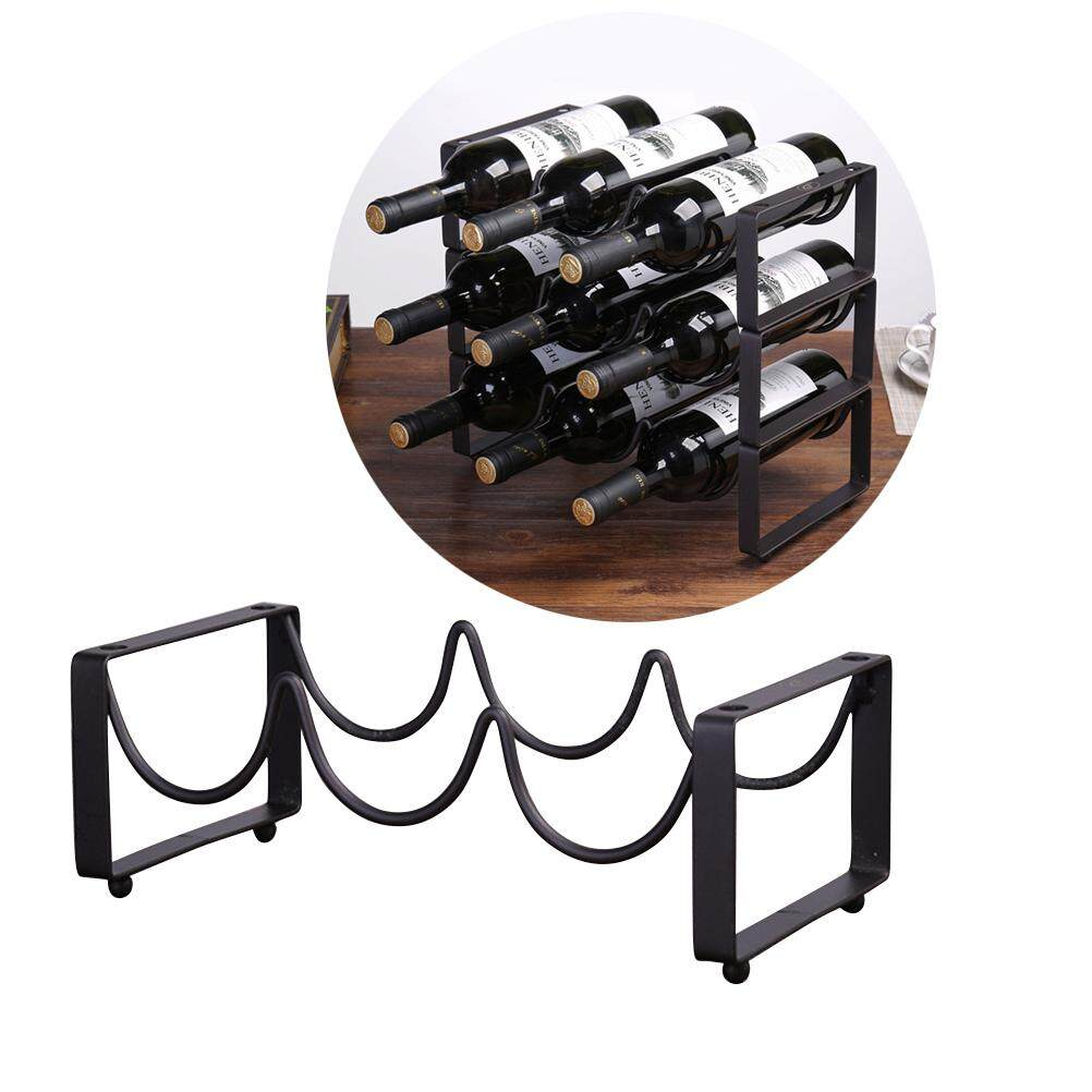 Creative Vintage Wire Wine Rack Wine Display Rack Storage Bottles Rack Stand Home Accessory Holds 3 Bottles By Eshopdeal.
