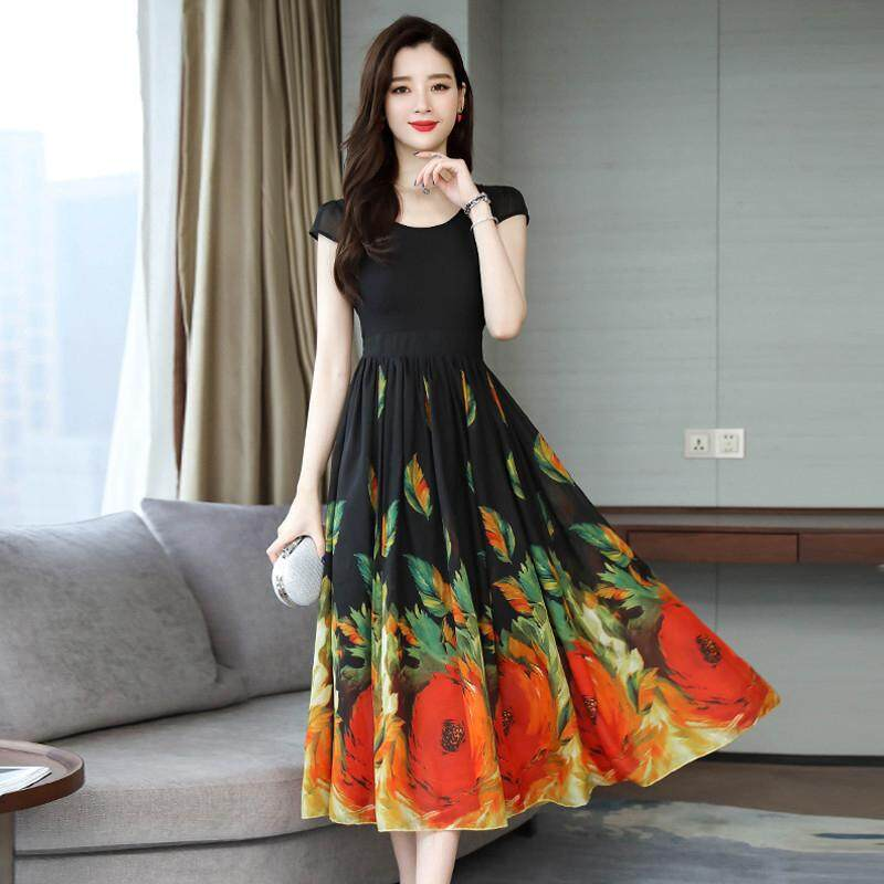 c6311d6b6e China. HuaX Women Summer Casual Beach Dress 2019 New Fashion Big Hem Slim  Fit A-Line