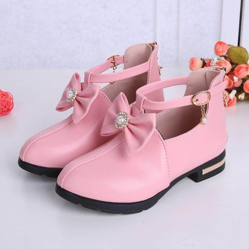OEMChildren Giày Da Bé Gái Công Chúa Giày Mùa Xuân Và Mùa Thu 2019 Phong Cách Mới Hàn Quốc-phong cách Giày Cao Gót Lớn Bé Trai Mềm Mại đáy Đen Sinh Viên Giày