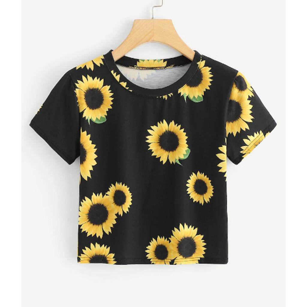 Fashion Womens Casual T-Shirt O-Neck Short Sleeve Sunflower Print Tops Tee Most