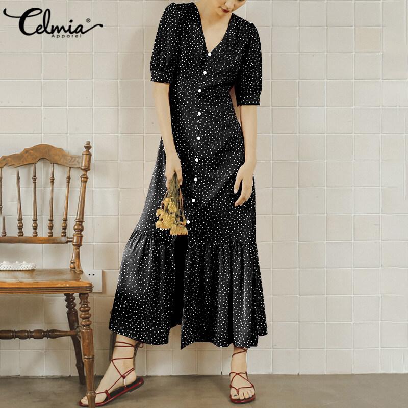 Nơi bán Celmia Đầm Mini Chấm Bi Mùa Hè Cho Nữ Váy Áo Maxi Dài Cổ Chữ V Kích Thước