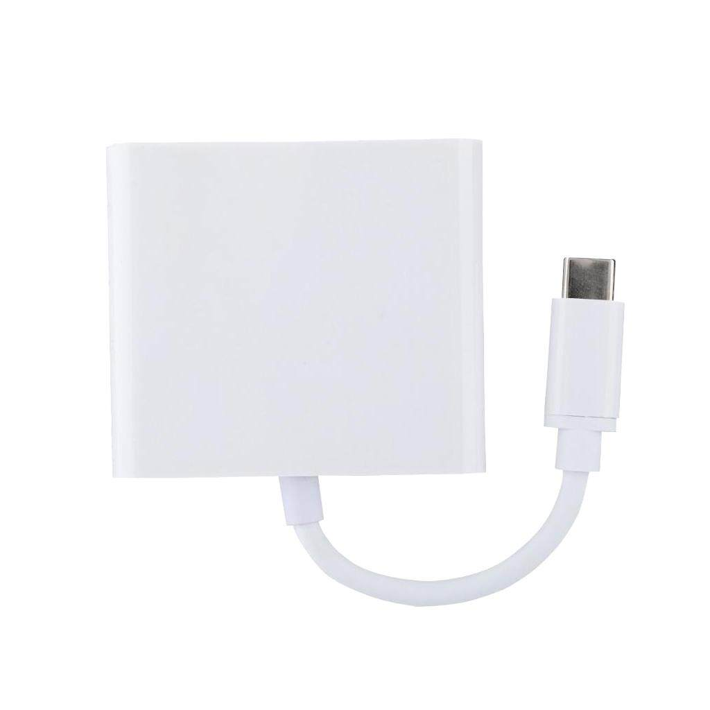 Miracle Shining White 3-in-1 Type-C to HDMI+USB3.0+ PD Charging Port Hub Adapter Converter