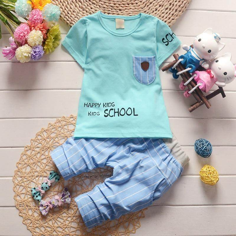 Clothing Sets Boy Clothes Suit Summer Short-sleeve Denim Shirt+striped Beach Shorts Pants 2pcs Childrens Clothing Set Fashion Toddlers Wear
