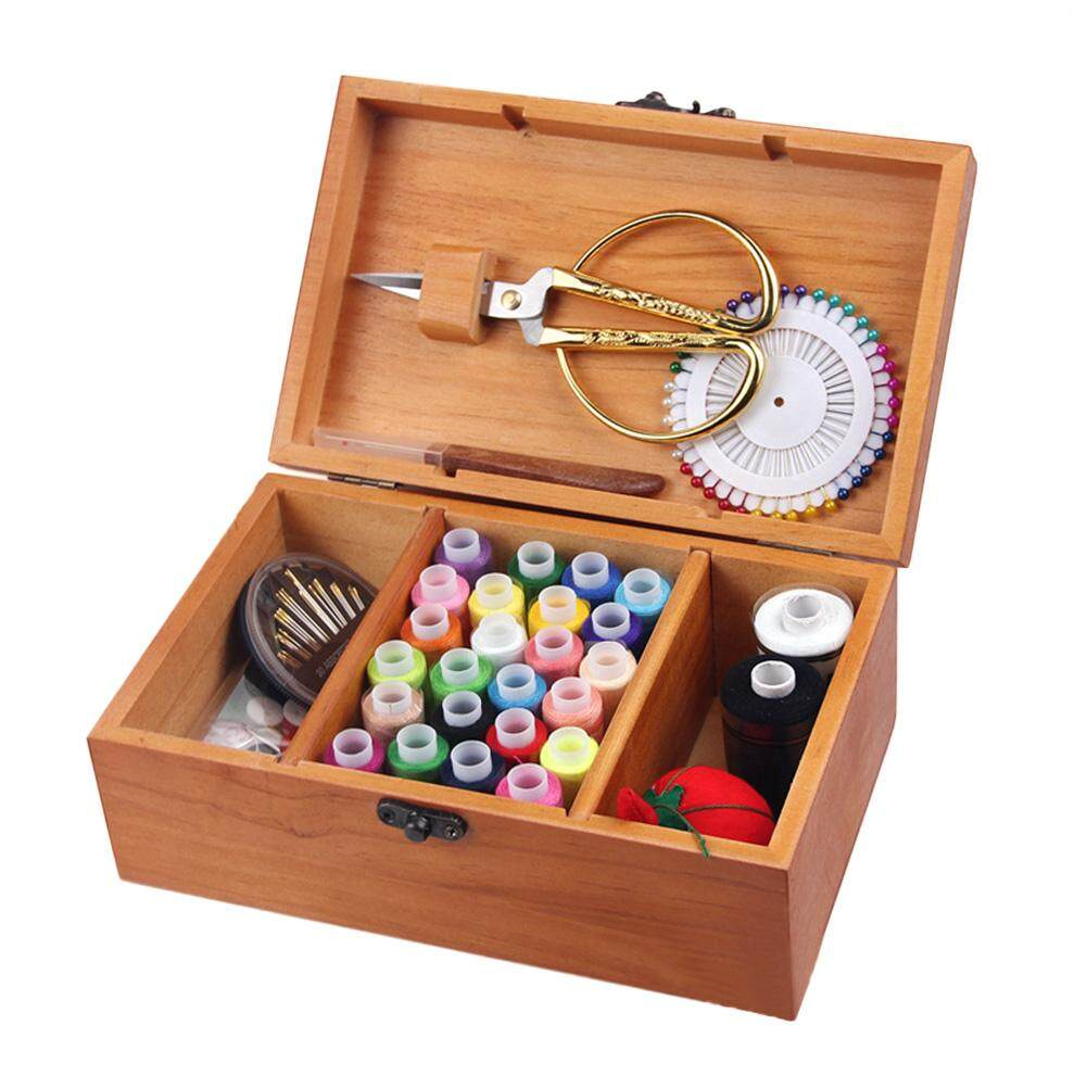 KEJARYWooden Sewing Set Basket Sewing Needle Storage Box