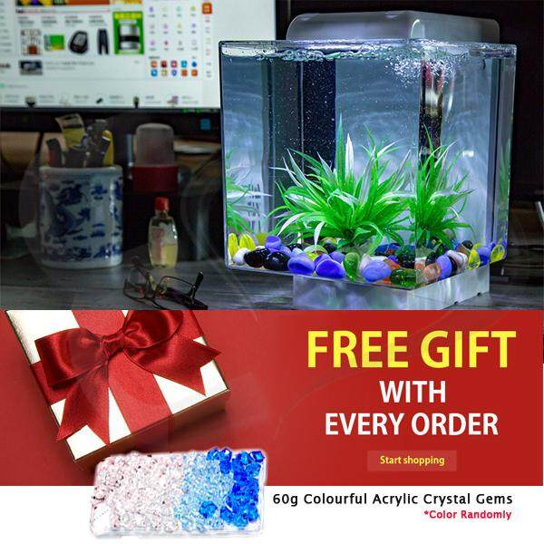 All In One Lazyman Mini Acrylic Aquarium Square Design With Led Lights Pump Filter System Square Size Suitable For Gold Fish Guppy Fish Tropical Fish
