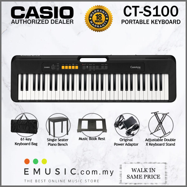 Casio CT-S100 61-key Portable Keyboard with Bench & Carrying Bag (Casiotone / CTS100 / CTS100) Malaysia