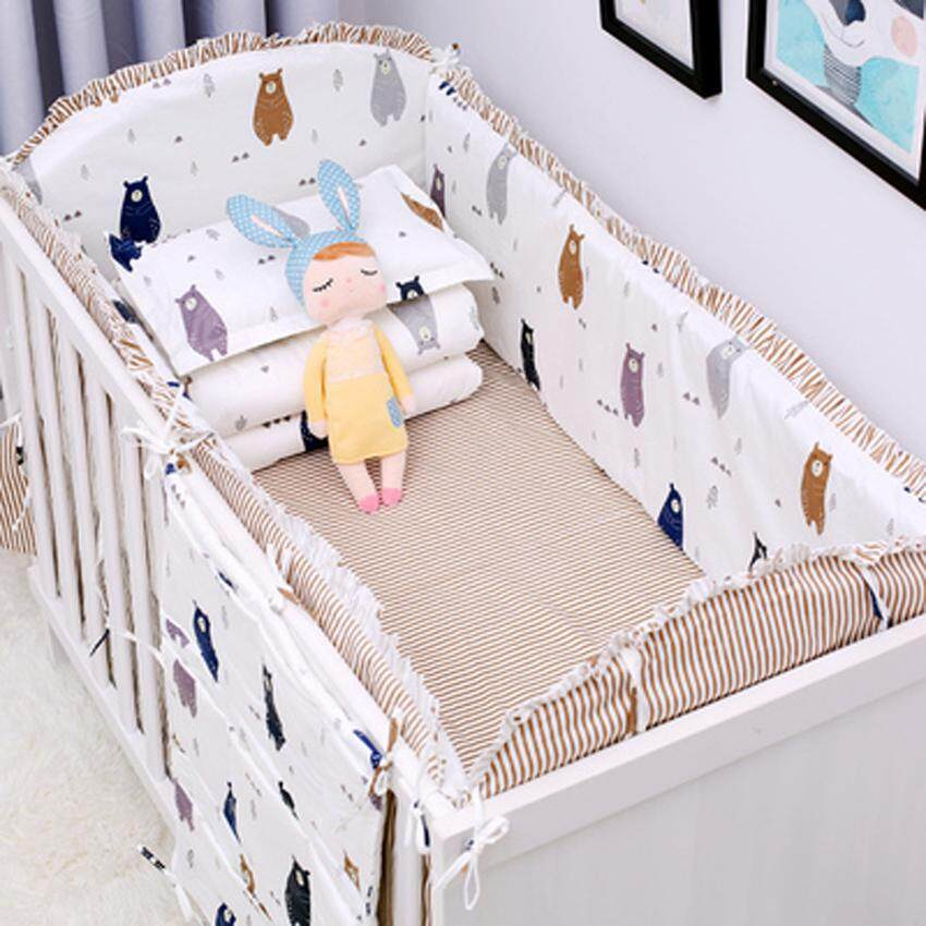 5pcs Cotton Baby Cot Bedding Set Newborn Baby Crib Bed Bumper Detachable Bumpers Sheet Cot Bed Linen Crib Around Protection 120x60cm By Honey Xuan.