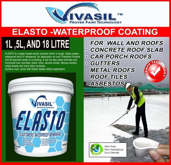 1L, 5L AND 18LITRE VIVASIL ELASTO WATERPROOFING MEMBRANE-FOR WATERPROOFING CONCRETE ROOF, METAL ROOF, ROOF TILE, METAL CONTENNAS, EXPOSED INTERIOR OR EXTERIOR PLASTERED WALL , 3 X TIMES MORE UV RESISTANCE ,HIGHLY ELASTIC,LONG LASTING PERFORMANCE