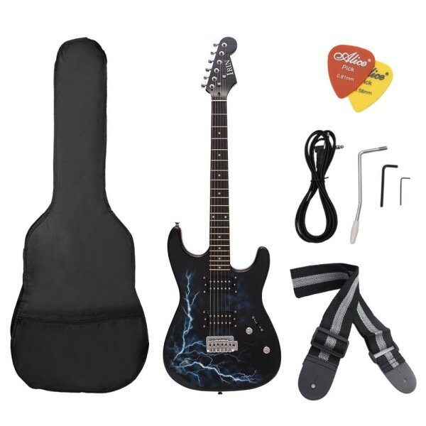 Dual Dual Pickups Electric Guitar Basswood Body Rosewood Fingerboard Cool Lightning Design with Gig Bag Picks Strap for Beginner Malaysia