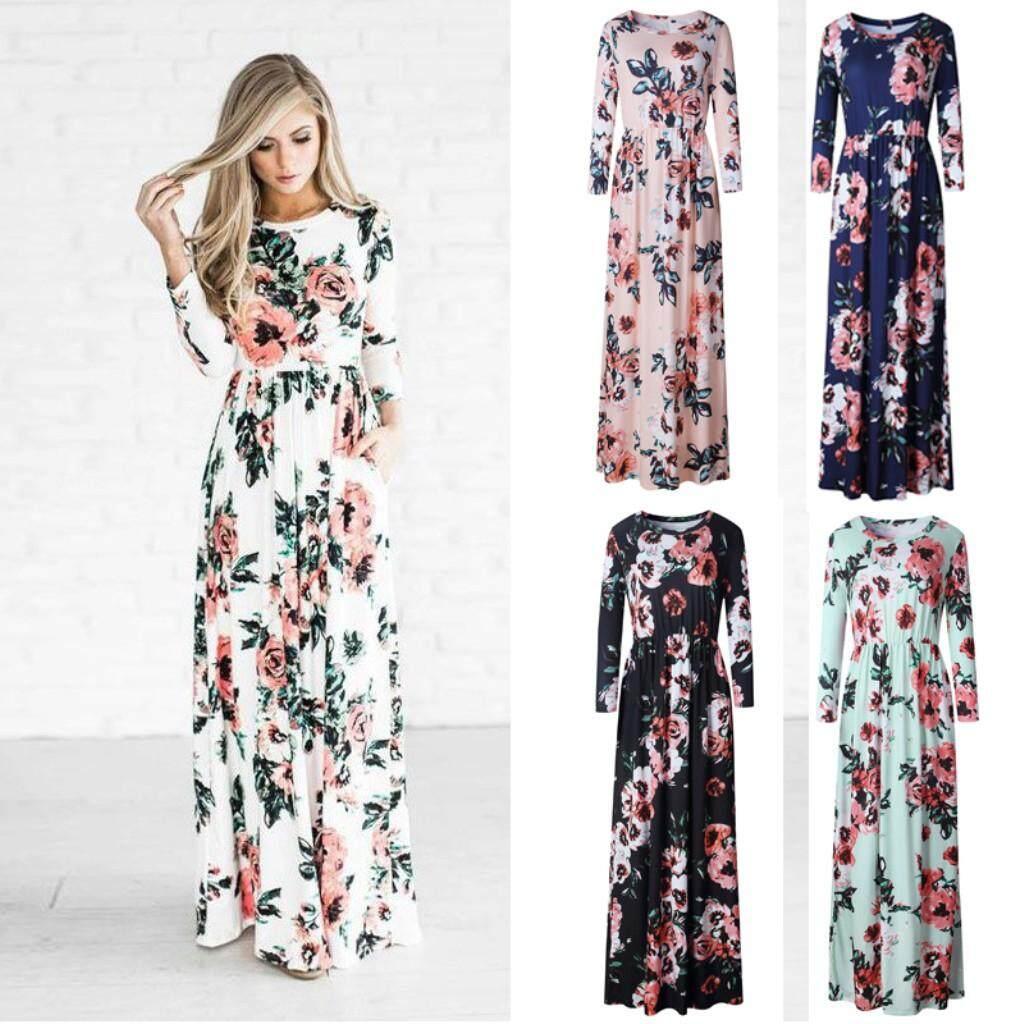 f05d999e78 Muslim Women Floral Printed Long Sleeve Pockets Maxi Plus Size Muslimah  Dress